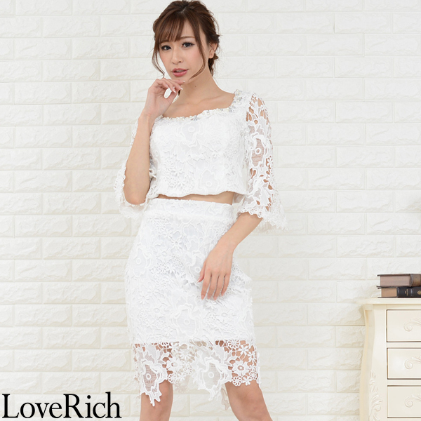 Love Rich 総レース透け魅せセットアップミニドレス キャバドレス パーティードレス ホワイト ナイトドレス キャバ ギャル パーティー コンパニオン セクシー 韓国ファッション 可愛い イベント 衣装