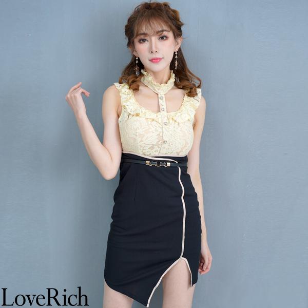 Love Rich レース切り替えミニドレス パーティードレス キャバドレス ベージュブラック ナイトドレス キャバ ギャル パーティー コンパニオン セクシー 韓国ファッション 可愛い イベント 衣装