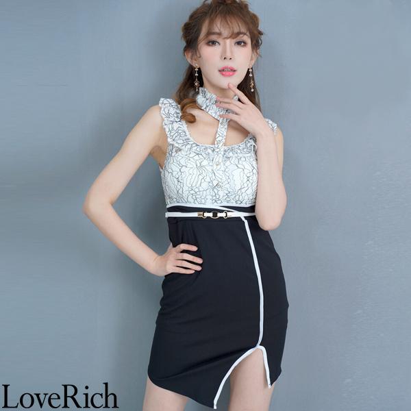 Love Rich レース切り替えミニドレス パーティードレス キャバドレス ホワイトブラック ナイトドレス キャバ ギャル パーティー コンパニオン セクシー 韓国ファッション 可愛い イベント 衣装