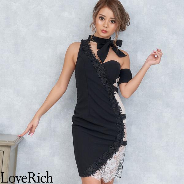 Love Rich サイドセクシー魅せリボンミニドレス パーティードレス キャバドレス ブラック ナイトドレス キャバ ギャル パーティー コンパニオン セクシー 韓国ファッション 可愛い イベント 衣装