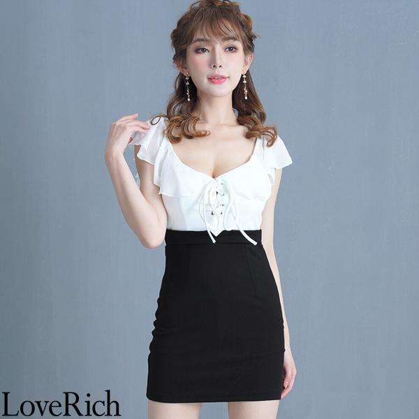 Love Rich 編み上げフリルオフショルダーミニドレス パーティードレス キャバドレス ホワイトブラック ナイトドレス キャバ ギャル パーティー コンパニオン セクシー 韓国ファッション 可愛い イベント 衣装