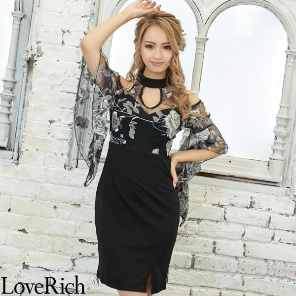 Love Rich 刺繍レース使いフラワーセクシーミニドレス パーティードレス キャバドレス ブラック ナイトドレス キャバ ギャル パーティー コンパニオン セクシー 韓国ファッション 可愛い イベント 衣装