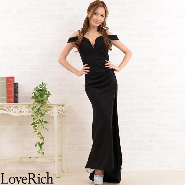 Love Rich ストレッチマーメイドオフショルダーセクシースリットロングドレス キャバドレス ブラック ナイトドレス キャバ ギャル パーティー コンパニオン セクシー 韓国ファッション 可愛い イベント 衣装