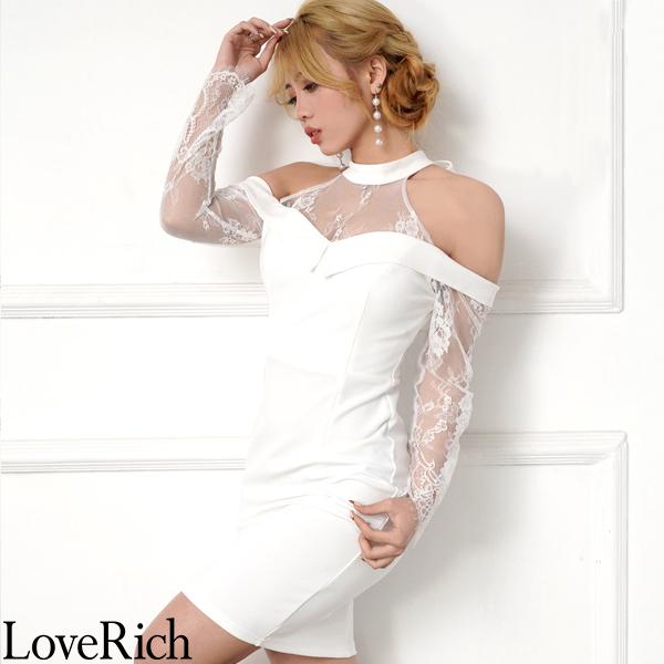 Love Rich 上品レースショルダーカットミニドレス パーティードレス キャバドレス ホワイト ナイトドレス キャバ ギャル パーティー コンパニオン セクシー 韓国ファッション 可愛い イベント 衣装
