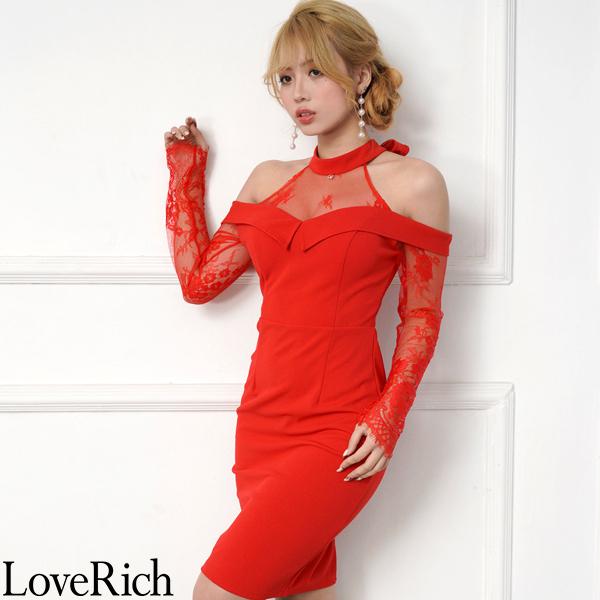 Love Rich 上品レースショルダーカットミニドレス パーティードレス キャバドレス レッド ナイトドレス キャバ ギャル パーティー コンパニオン セクシー 韓国ファッション 可愛い イベント 衣装
