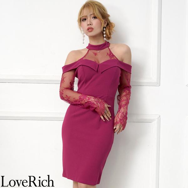Love Rich 上品レースショルダーカットミニドレス パーティードレス キャバドレス ラズベリーレッド ナイトドレス キャバ ギャル パーティー コンパニオン セクシー 韓国ファッション 可愛い イベント 衣装