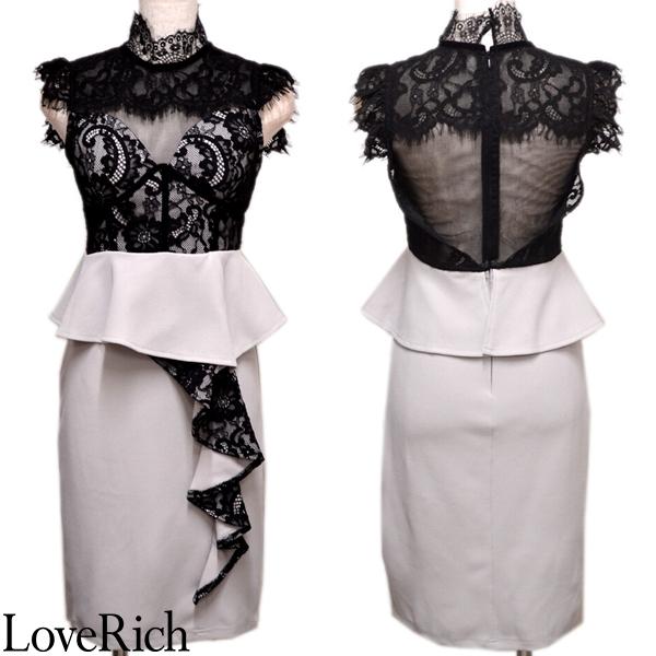 Love Rich サイトフリル レース ミニドレス キャバドレス パーティードレス グレー ナイトドレス キャバ ギャル パーティー コンパニオン セクシー 韓国ファッション 可愛い イベント 衣装