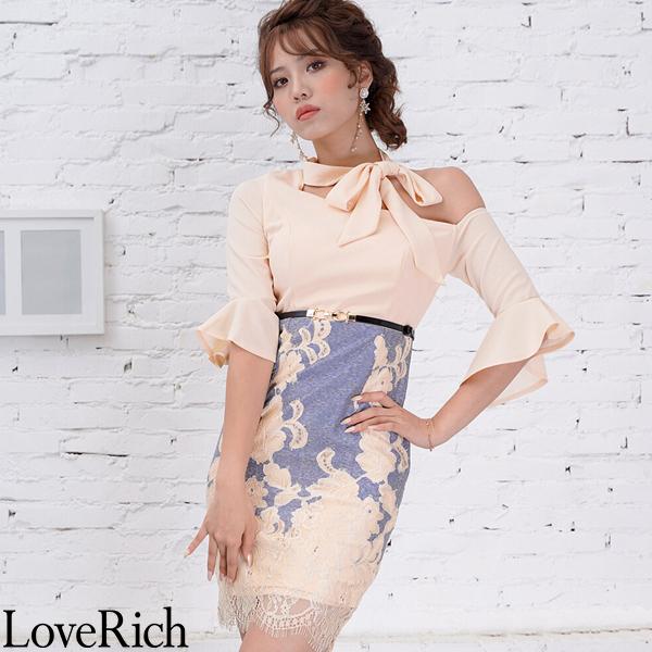 Love Rich フラワーレースリボンミニドレス パーティードレス キャバドレス ベージュ ナイトドレス キャバ ギャル パーティー コンパニオン セクシー 韓国ファッション 可愛い イベント 衣装