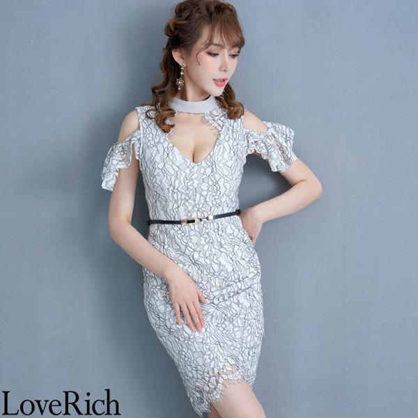Love Rich 総レースミニドレス パーティードレス キャバドレス ホワイト ナイトドレス キャバ ギャル パーティー コンパニオン セクシー 韓国ファッション 可愛い イベント 衣装