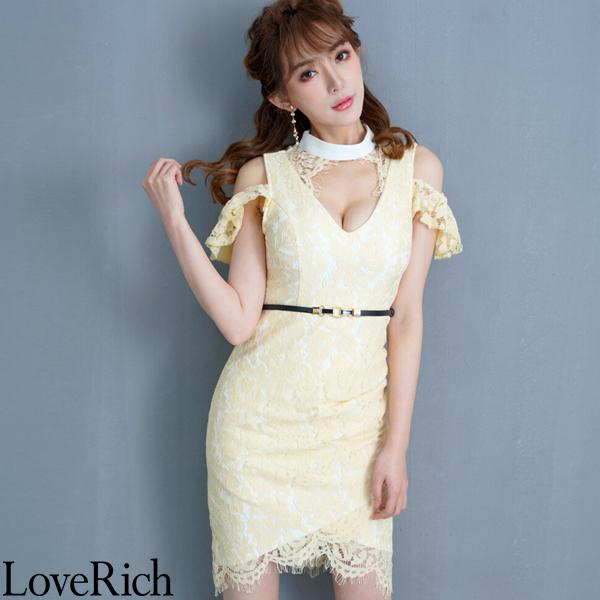 Love Rich 総レースミニドレス パーティードレス キャバドレス イエロー ナイトドレス キャバ ギャル パーティー コンパニオン セクシー 韓国ファッション 可愛い イベント 衣装