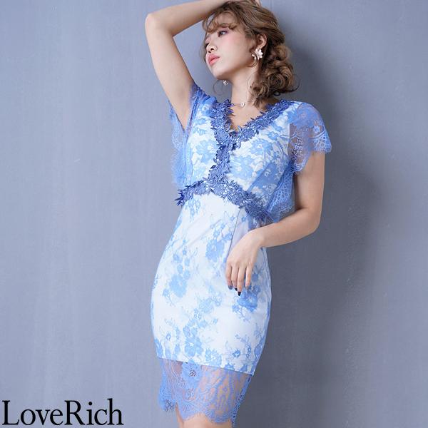 Love Rich 総レースセクシーミニドレス パーティードレス ナイトドレス キャバドレス ブルー ナイトドレス キャバ ギャル パーティー コンパニオン セクシー 韓国ファッション 可愛い イベント 衣装