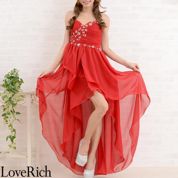 Love Rich ゴージャスビジューテールカットロングドレス パーティードレス キャバドレス レッド ナイトドレス キャバ ギャル パーティー コンパニオン セクシー 韓国ファッション 可愛い イベント 衣装