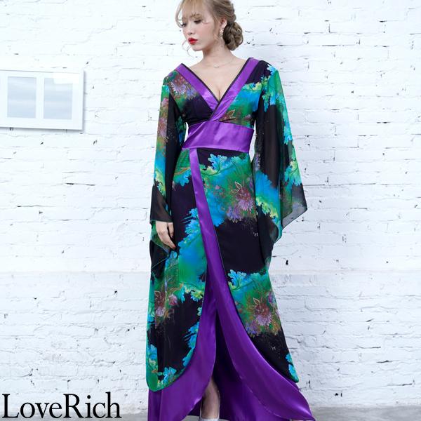 スーパーセール30%off Love Rich フラワープリントリボンつきロング着物ドレス 和柄 花魁 キャバドレス グリーンパープル 花魁 着物 浴衣 ナイトドレス セクシー パーティー コンパニオン コスチューム キャバ ギャル 衣装 可愛い ハロウィン 仮装