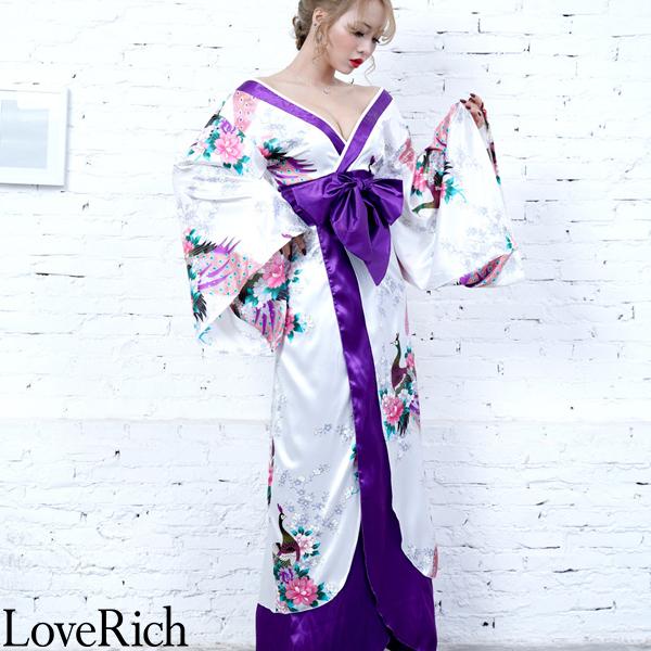 Love Rich 孔雀和柄ロング着物ドレス 和柄 花魁 キャバドレス ホワイト 花魁 着物 浴衣 ナイトドレス セクシー パーティー コンパニオン コスチューム キャバ ギャル 衣装 可愛い ハロウィン 仮装