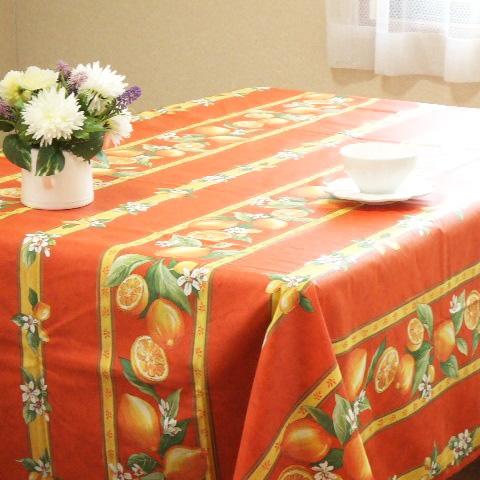 【フランス直輸入】プロバンス撥水加工テーブルクロス(150×300cm)レモン柄オレンジ