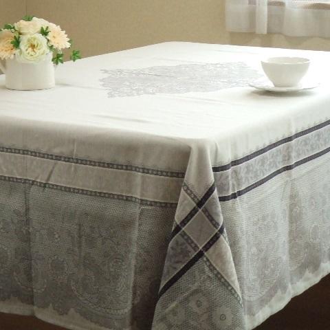 【フランス直輸入】撥水加工ジャガード織テーブルクロス(160×200cm) DENTELLE ダンテル オフホワイト