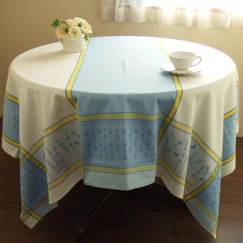 【フランス直輸入】撥水加工ジャガード織テーブルクロス(160×160cm) GRIGNAN グリニャン (白) 正方形