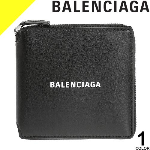 バレンシアガ 財布 二つ折り財布 レディース メンズ 小銭入れ付き レザー 本革 ラウンドファスナー ブランド 黒 ブラック BALENCIAGA CASH SQUARE WALLET 594693 1I313 1090