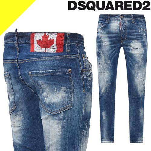 ディースクエアード ジーンズ デニム デニムパンツ スキニーパンツ メンズ ブランド 大きいサイズ スリム ストレッチ ストレート ダメージ インディゴ DSQUARED2 Tidy Biker Jeans S74LB0714 S30342 470