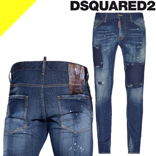 ディースクエアード ジーンズ デニム デニムパンツ スキニーパンツ メンズ ブランド 大きいサイズ スリム ストレッチ ストレート ダメージ インディゴ DSQUARED2 Cool Guy Jeans S74LB0679 S30664 470