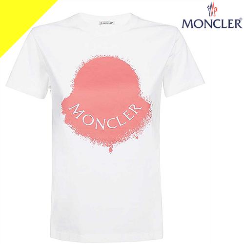 モンクレール Tシャツ レディース ブランド カットソー クルーネック ロゴ カジュアル 大きいサイズ 白 ホワイト MONCLER 8C71510 V8094 001 [ネコポス発送]