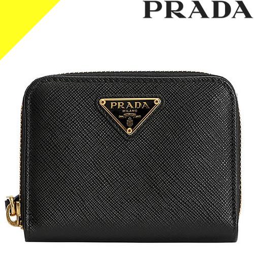 プラダ コインケース 小銭入れ 財布 サフィアーノ メンズ レディース トライアングル ブランド 革 小さい ファスナー 仕切りあり 黒 ブラック PRADA Saffiano Leather Coin Purse 1MM268 QHH F0002