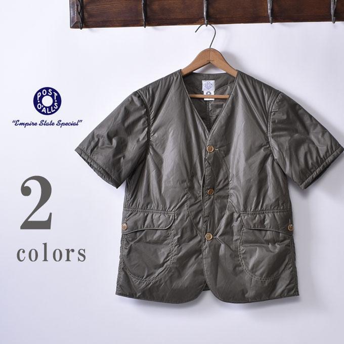 【POST OVERALLS】ポストオーバーオールズRoyal Traveler Shirt-1/2(#1267B)NYLON TAFFTA WITH THINSULATEロイヤルトラベラーシャツ ハーフスリーブ ナイロンタフタ シンサレート全2色(OLIVE・BLACK)