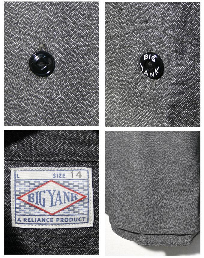ビッグヤンク × 웨어하우스 1940s CIGARETTE POCKET CHAMBRAY WORK SHIRTS 1940 년대 담배 포켓 샹 브 레 워크 셔츠 블랙 요리 목