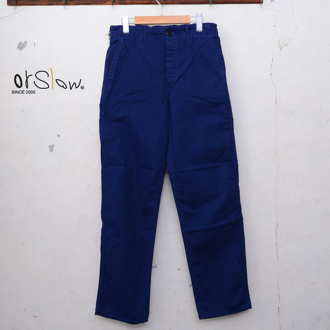 【orslow】オアスロウUNISEX MODEL ユニセックスモデルFRENCH WORK PANTSフレンチワークパンツHERRING BONE TWILL COTTONヘリンボーンツイルコットンink blue(03)z5x