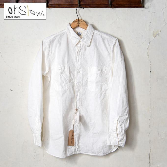 【orslow】オアスロウMEN'S CHAMBRAY SHIRTSメンズ シャンブレーシャツホワイト(69)z5x