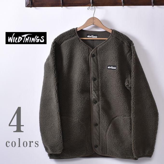 【WILDTHINGS】ワイルドシングスFLUFFY BOA NO COLLAR JACKET(WT19118N)フラッフィー ボア ノーカラージャケット全4色(NATURAL・BROWN・OLIVE・BLACK)z10x