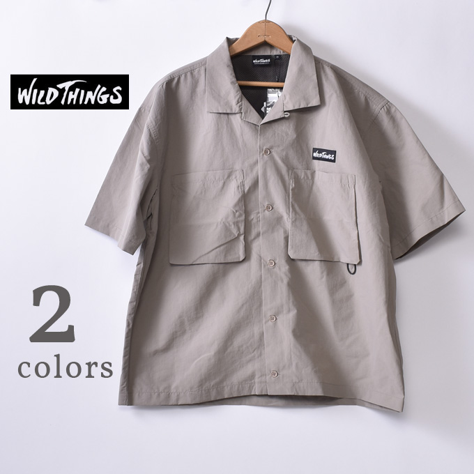 【WILDTHINGS】ワイルドシングスS/S CAMP SHIRTS(WT20017PA)ショートスリーブ キャンプ シャツ全2色(GREGE・BLACK)z10x