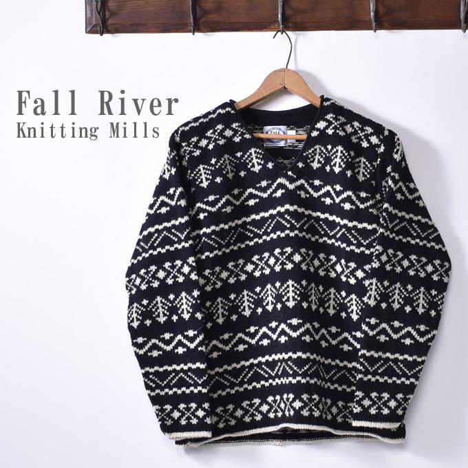 ★40%OFF SALE!【Fall River Knitting Mills】フォールリバーニッティングミルズV Neck Zig Zag SweaterVネックジグザグセーターBlack ブラック
