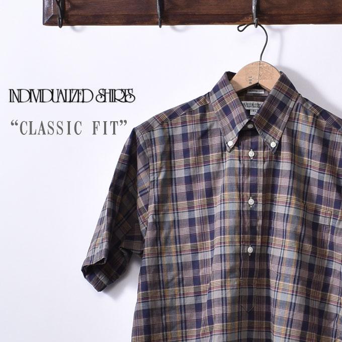 【INDIVIDUALIZED SHIRTS】インディビジュアライズドシャツS/S CLASSIC FIT BD SHIRT PULLOVERショートスリーブ クラシックフィットボタンダウン シャツ プルオーバーMADRAS CHECK マドラスチェックブルー系z5x