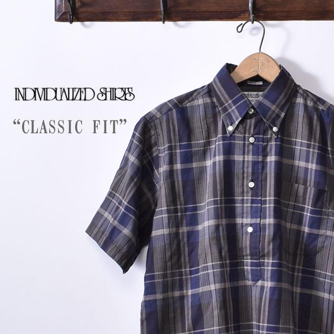 【INDIVIDUALIZED SHIRTS】インディビジュアライズドシャツS/S CLASSIC FIT BD SHIRT PULLOVERショートスリーブ クラシックフィットボタンダウン シャツ プルオーバーMADRAS CHECK マドラスチェックネイビー系z5x