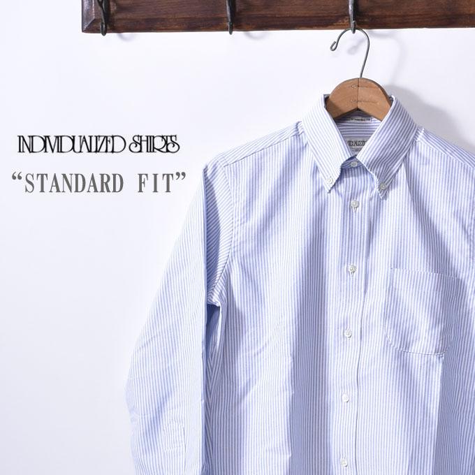 【INDIVIDUALIZED SHIRTS】インディビジュアライズドシャツL/S STANDARD FIT BD SHIRTロングスリーブ スタンダードフィットボタンダウン シャツBARBAR STRIPE バーバーストライプブルー×ホワイトz5x