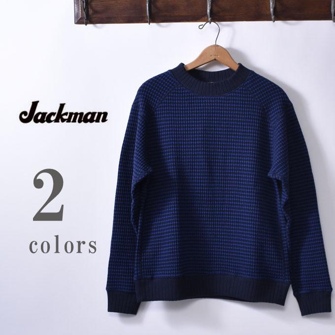 【Jackman】ジャックマンJM7953 WAFFLE MIDNECKワッフルミッドネック全2色(Blue/Navy・Ivory/Black)