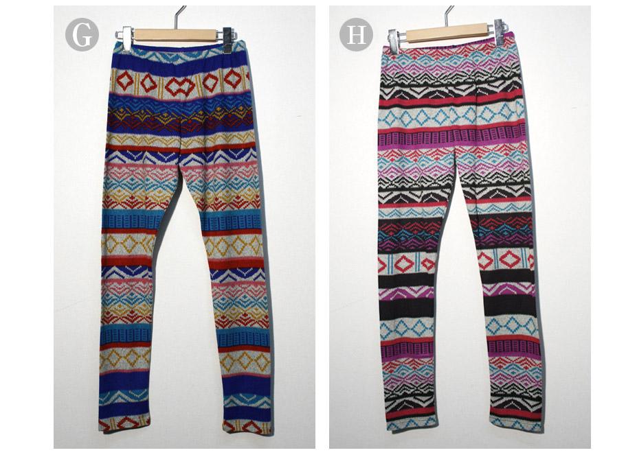 HealthNet Jacquard leggings ( spats ) ethnic pattern of geometric size 1 L 6 colors [△