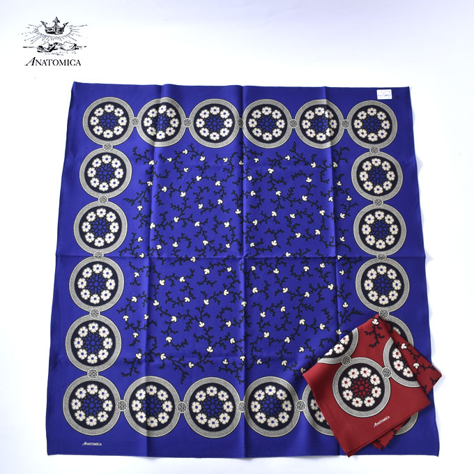 【ANATOMICA】アナトミカSATIN SCARF(BANDANA PATTERN)サテンスカーフ(バンダナパターン)全2色(IK.BLUE・RED)