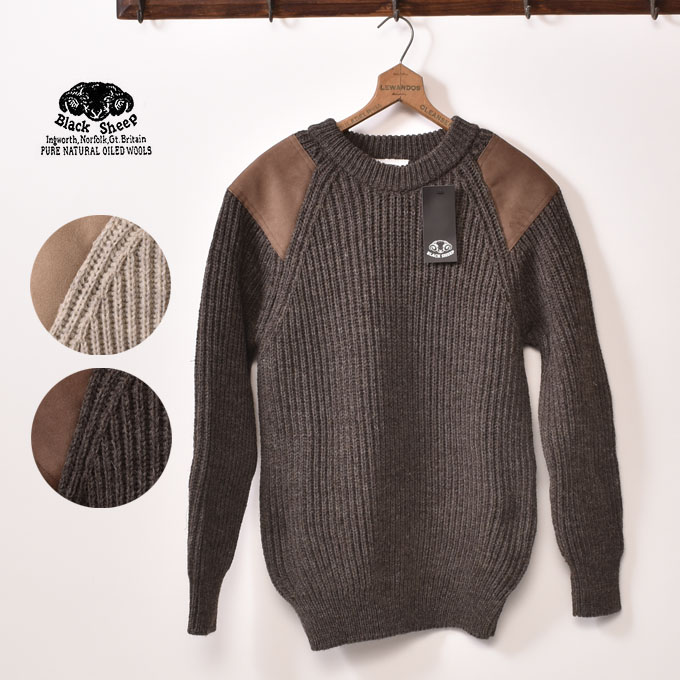 2b5150f448b7a cott  All Made in England black sheep CREW NECK LEATHER PATCH SWEATER crew  neck leather patch sweater two colors