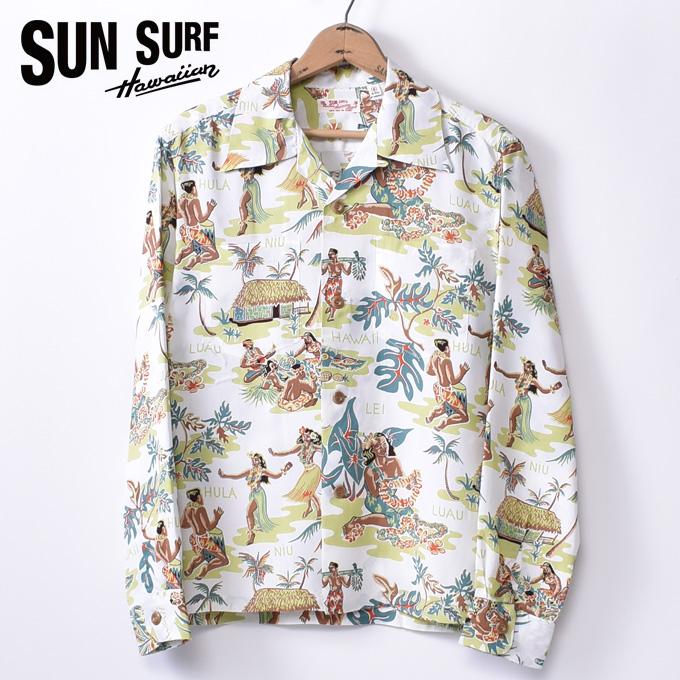【SUN SURF】サンサーフLUAU(SS28015 105OFF)長袖 レーヨン アロハシャツ ハワイアンシャツOFF WHITE オフホワイト