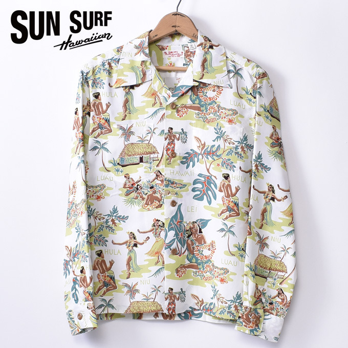 95f36acd cott: Sun surf LUAU (SS28015 105OFF) long sleeves rayon Hawaiian ...