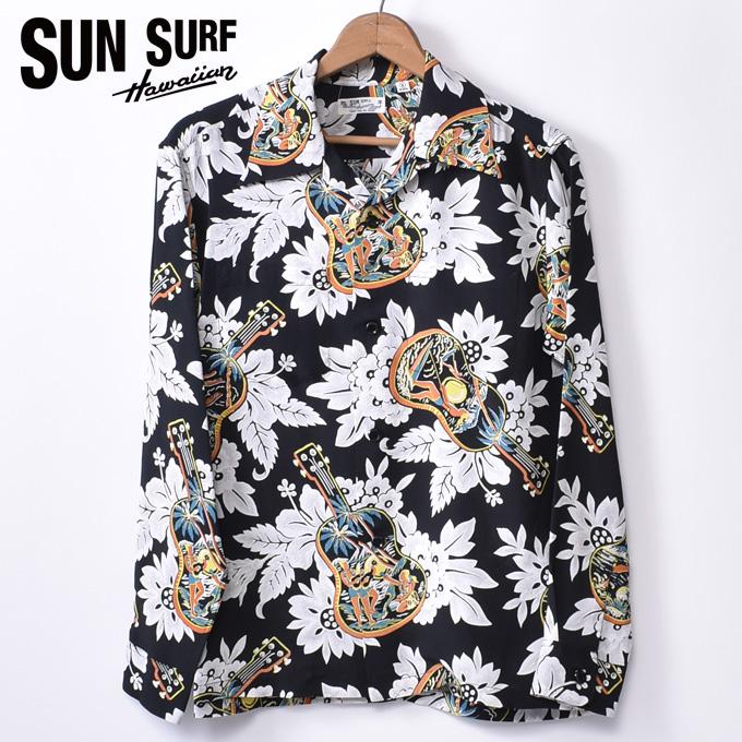 【SUN SURF】サンサーフUKULELE MELODY(SS28019 119BLK)長袖 レーヨン アロハシャツ ハワイアンシャツBLACK ブラック
