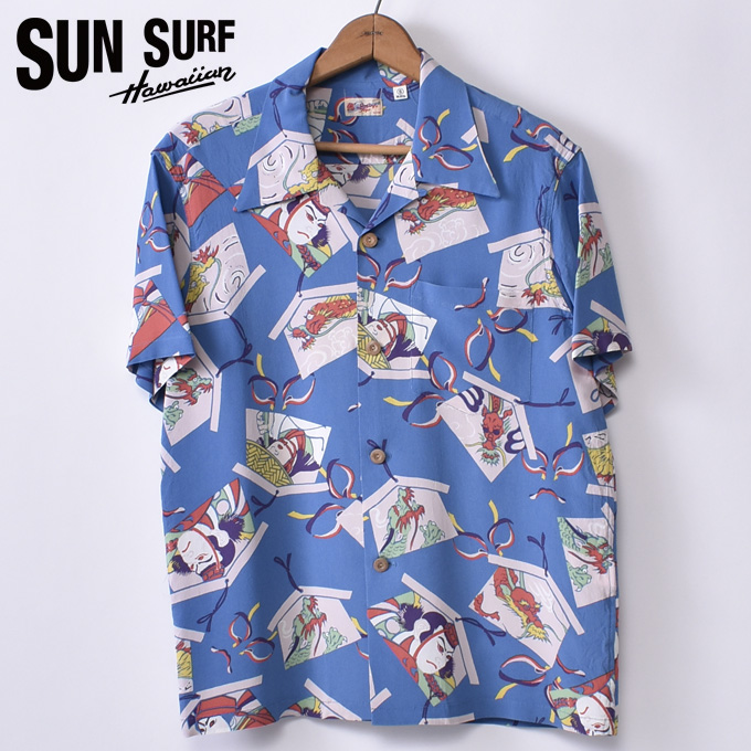 【SUN SURF】サンサーフKABUKI MAKE UP(SS38036 125BLU)半袖 レーヨン アロハシャツ ハワイアンシャツBLUE ブルー