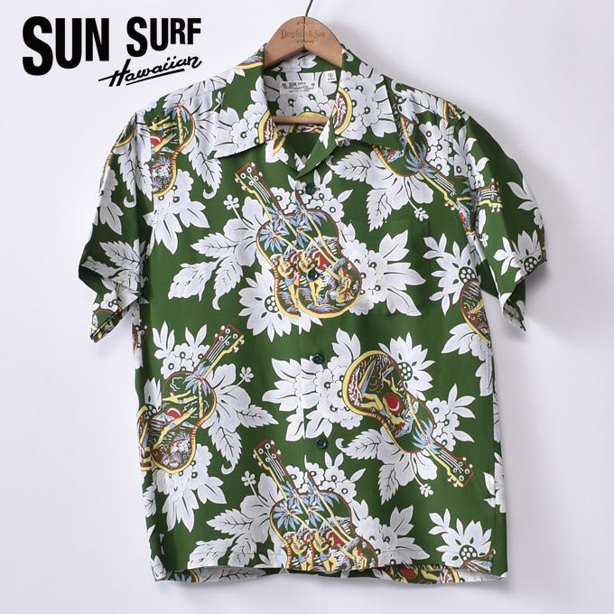 【SUN SURF】サンサーフUKULELE MELODY(SS38029 145GRN)半袖 レーヨン アロハシャツ ハワイアンシャツGREEN グリーン