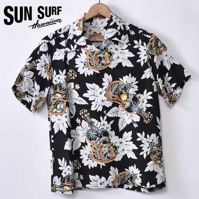 【SUN SURF】サンサーフUKULELE MELODY(SS38029 119BLK)半袖 レーヨン アロハシャツ ハワイアンシャツBLACK ブラック
