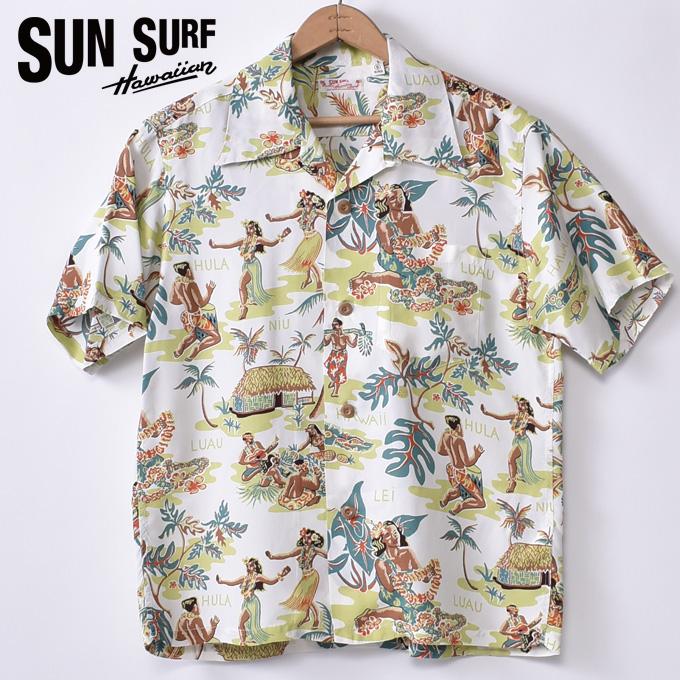 【SUN SURF】サンサーフLUAU(SS38025 105OFF)半袖 レーヨン アロハシャツ ハワイアンシャツOFF WHITE オフホワイト