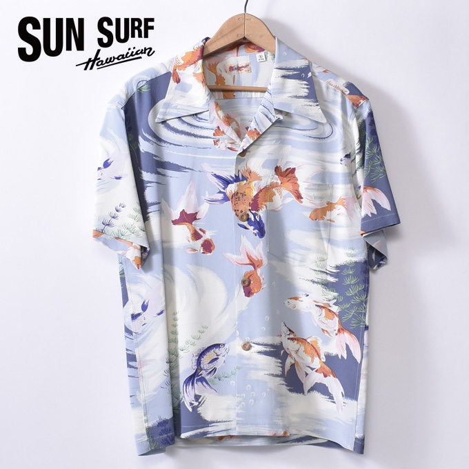 【SUN SURF】サンサーフGOLD FISH(SS38027 115GRY)半袖 レーヨン アロハシャツ ハワイアンシャツGRAY グレー
