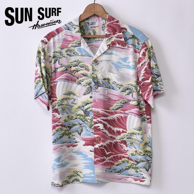 【SUN SURF】サンサーフLAND OF RISING SUN(SS38317 165RE)半袖 レーヨン アロハシャツ ハワイアンシャツRED レッド