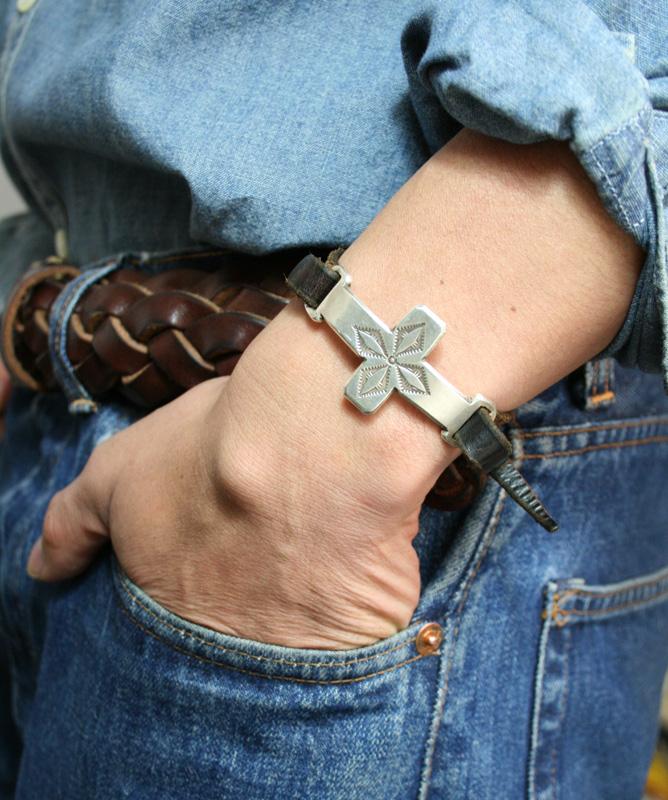 【JACK WALKER】ジャックウォーカーsilver & leather bracelet #04シルバーブレスレット